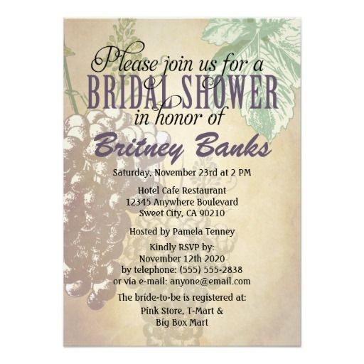 Tuscan winery vineyard bridal shower invitations purple black tuscan winery vineyard bridal shower invitations filmwisefo