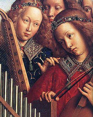 L'agneau mystique. Premier volet droit du registre supérieur, anges musiciens, Jan Van Eyck, 1432