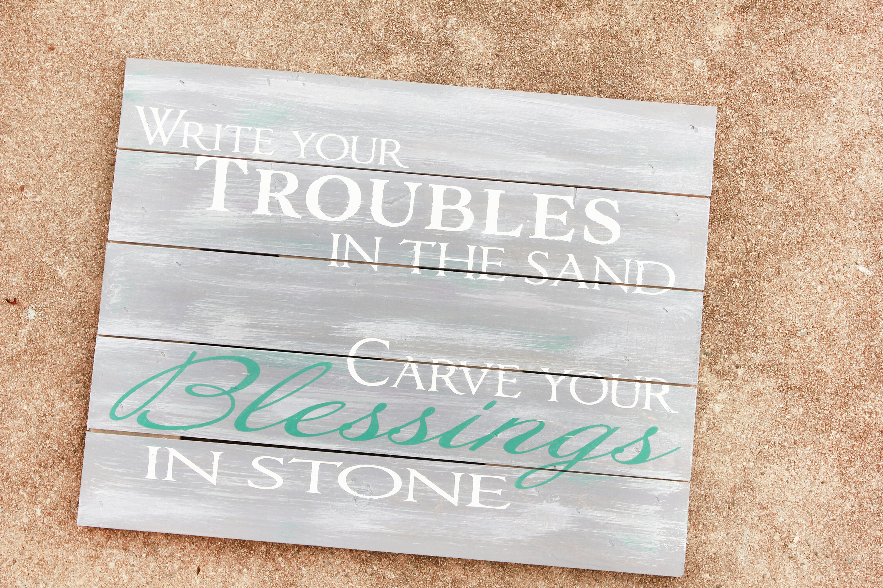 Blessings rustic wood sign painted wood decor farmhouse style wall