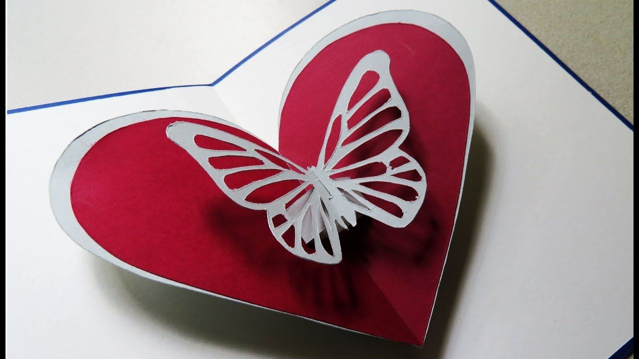 Pop Up Card Butterfly Heart Greeting Pop Up Card By Template Ezyc Card Template Heart Cards Free Place Card Template