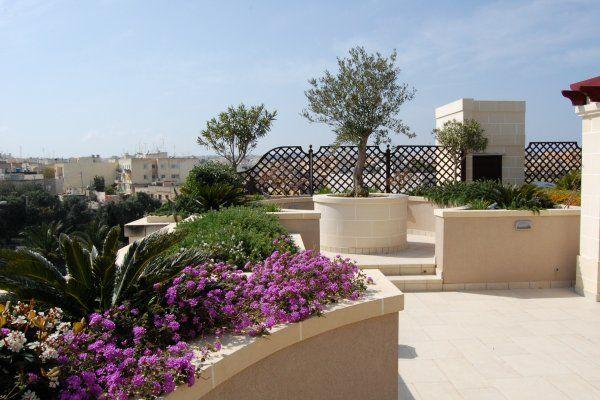 Roof Garden Design roof garden with border planters Garden Design Malta Roof Garden Terrace Planters Rosmarinus Lavender
