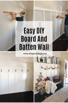 Step by step guide for a DIY board and batten wall!  #DIY #transformation #beforeandafter #woodworking #entryway #farmhouse