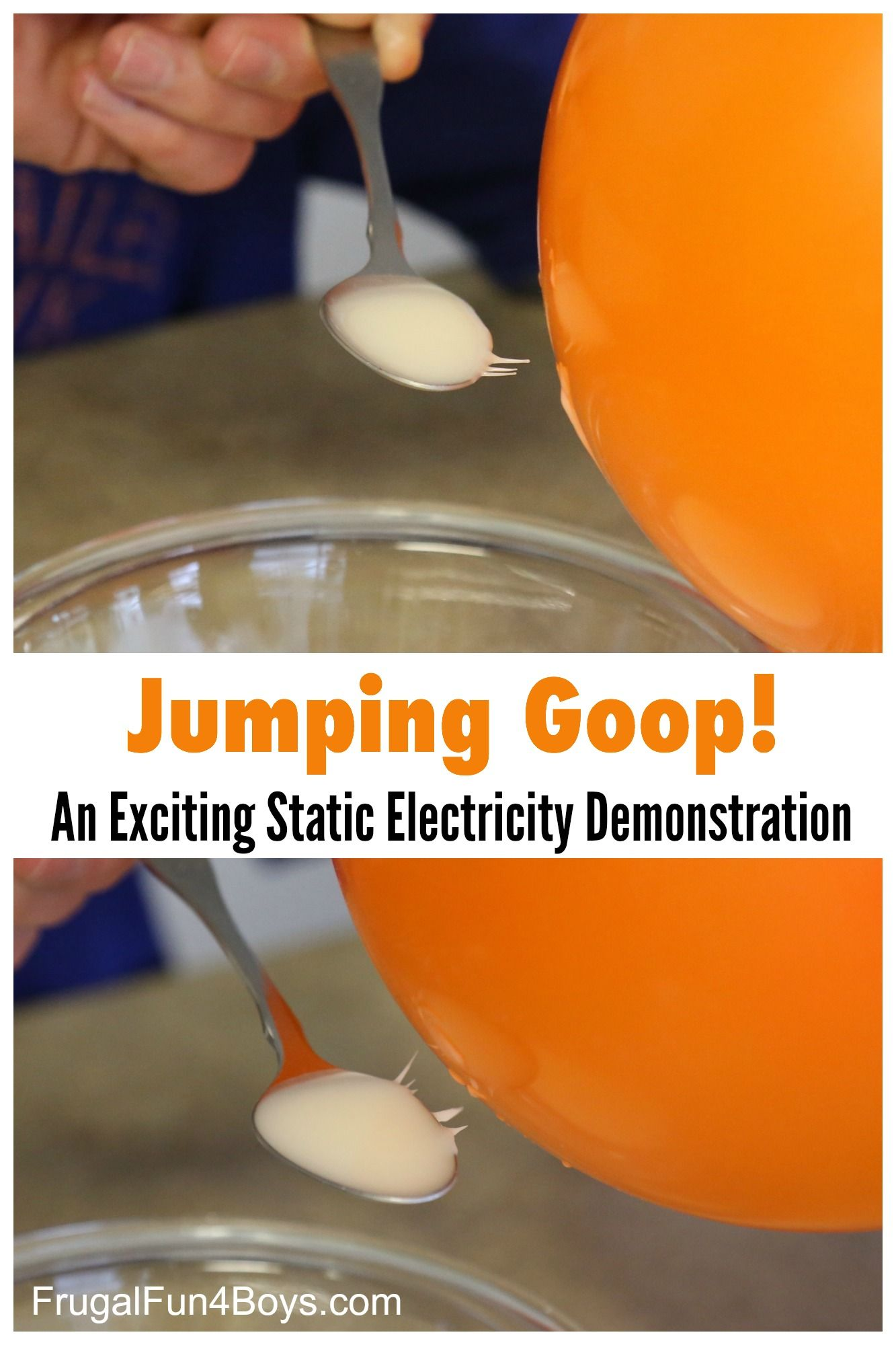 Jumping Goop! An Awesome Static Electricity Demonstration with Cornstarch - Frugal Fun For Boys