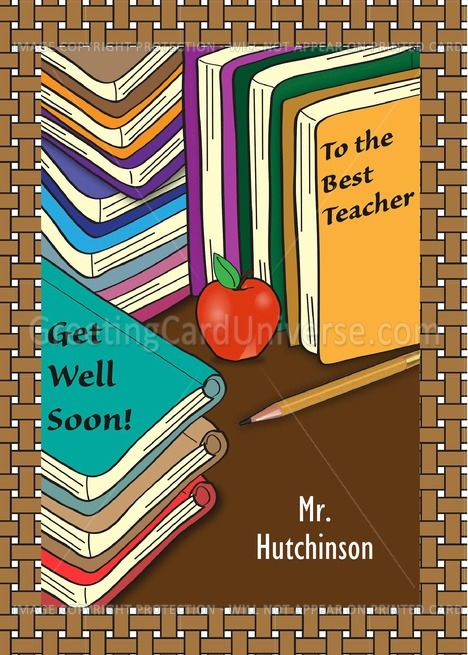 Custom name Get Well to teacher books apple pencil card