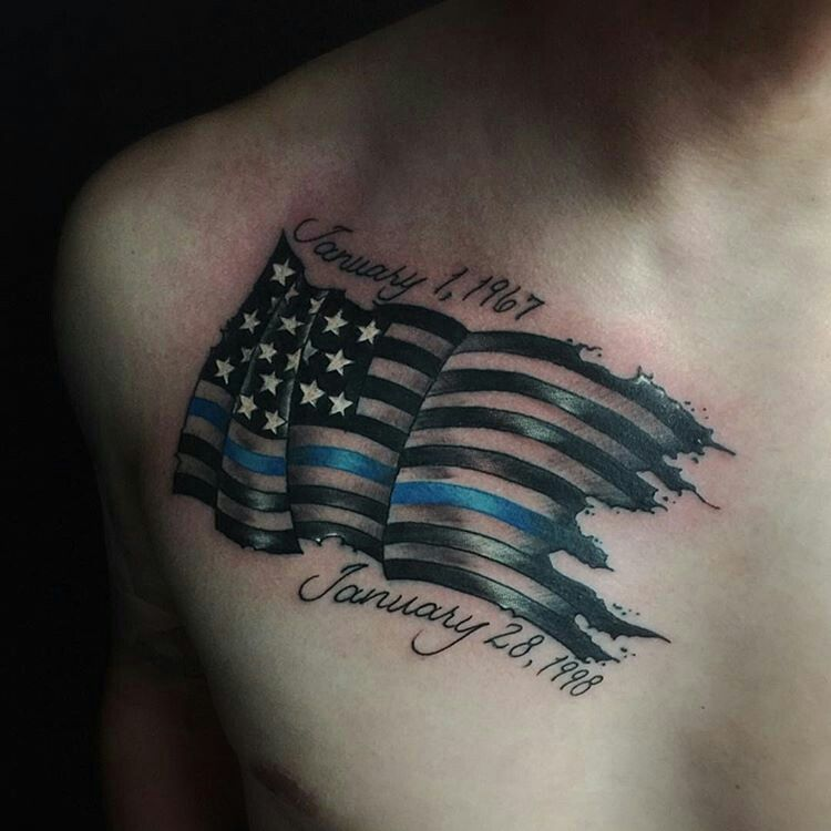 Thin Blue Line Tattoo Flag