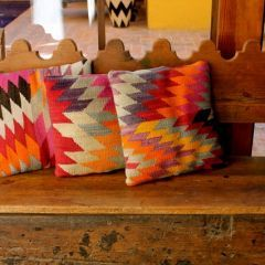 .this would be cool.. take a mexican blanket and make pillows out of it. Hacienda