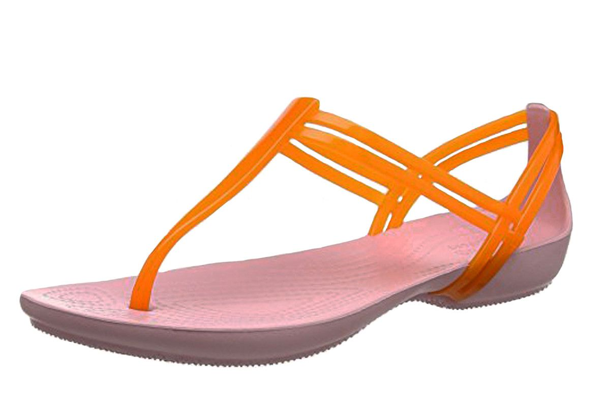 09c05a8a457 Crocs Isabella T Strap Active Orange Petal Pink Women s Flat Sandals ...