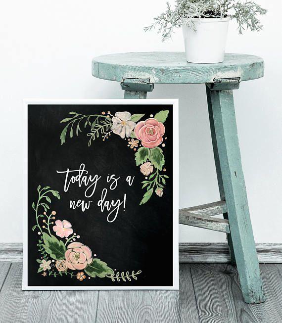 Hand Drawn Floral Print Art Print Chalk Art Chalkboard Art Home