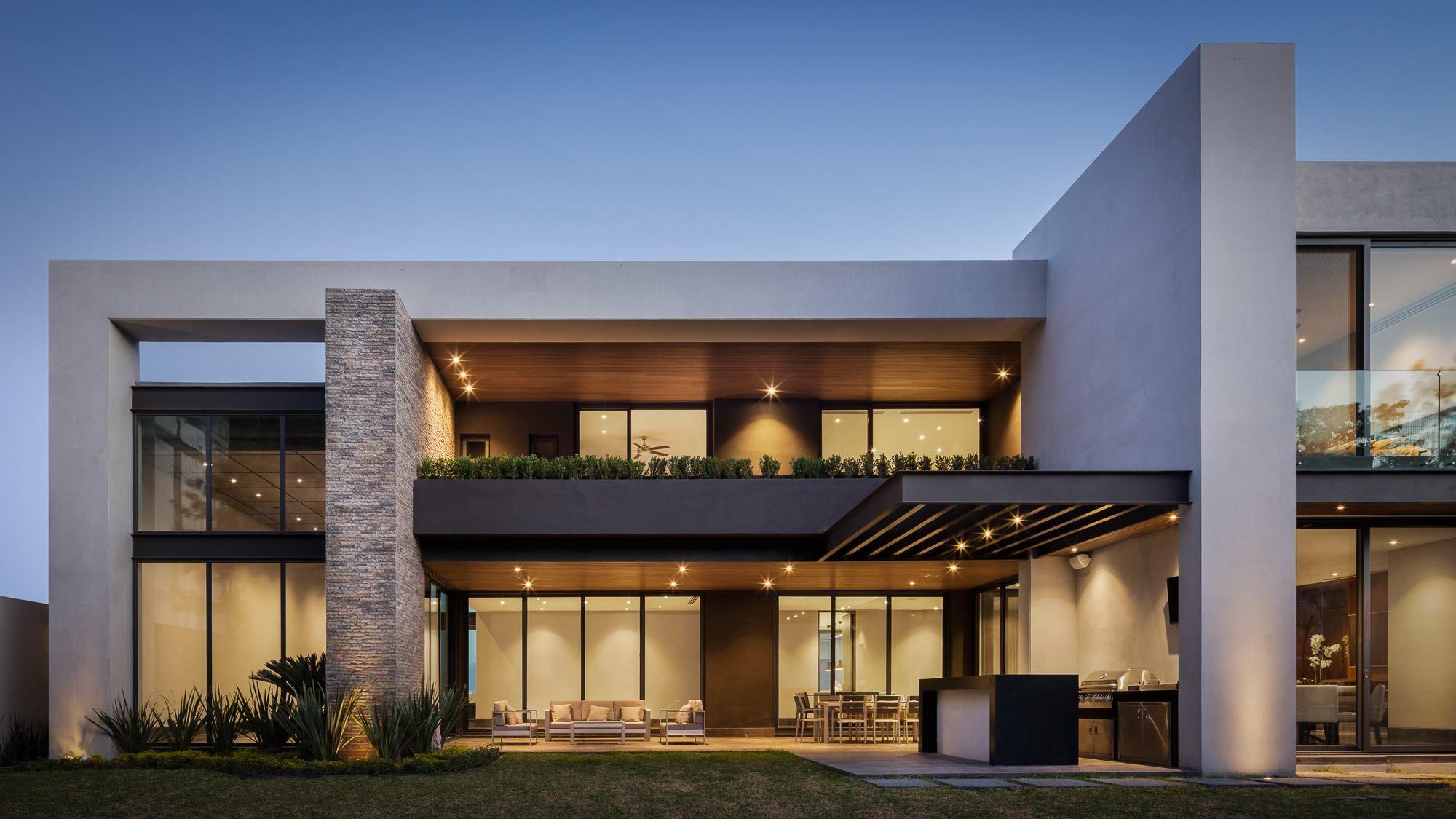 Idea: trasero de la villa concreto blanco hierro o pared verde