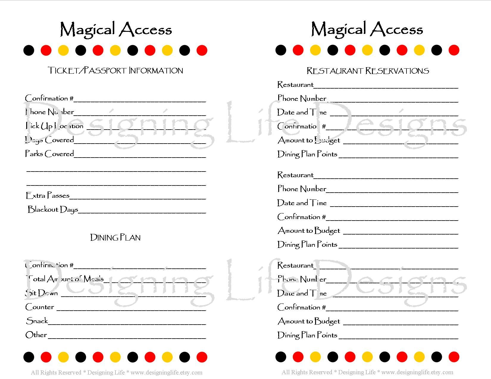 Disney Vacation Planner Printable