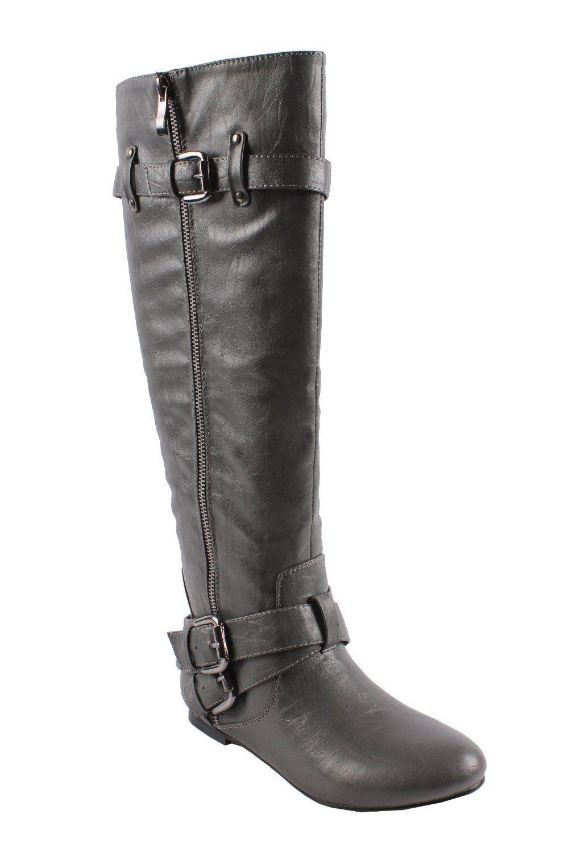 94ef92a05229a Amazon.com: BONNIBEL BIANCA-5 Women's almond toe tall boots on flat ...