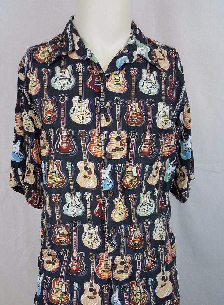 Reyn Spooner Art of Eddy Y Fender Les Paul Guitar Hawaiian Hawaii Shirt - Large #ReynSpooner #guitar