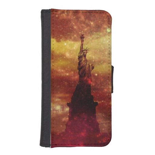 Lady Liberty red and yellow stars iPhone 5 Wallet Cases