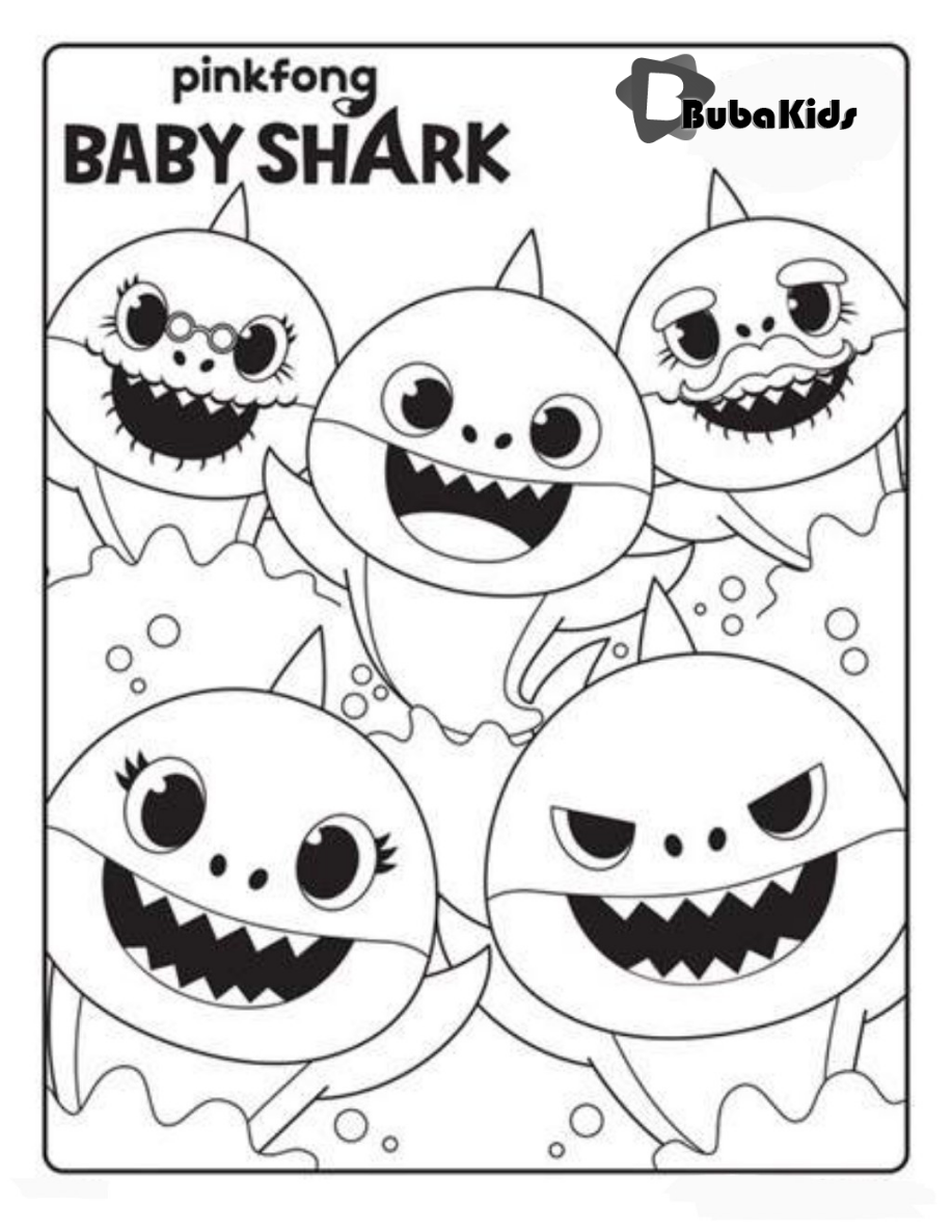 Baby Shark, Mama Shark, Papa Shark, Grandma Shark, and Grandpa Shark are  out for a family swim … | Shark coloring pages, Baby coloring pages,  Crayola coloring pages