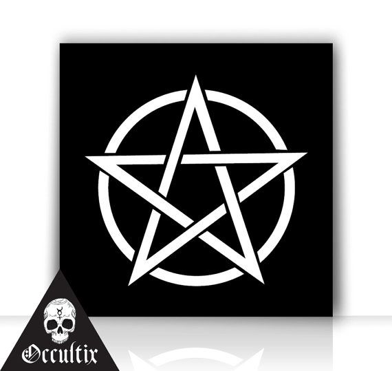 Pentagram 50x50cm Canvas Print occult black and white by Occultix