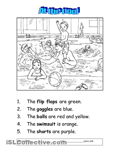 at the swimming pool worksheet