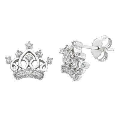 Fine Jewelry diamond blossom 1/10 CT. T.W. Diamond Sterling Silver Cluster Earrings QcV3mXJg1