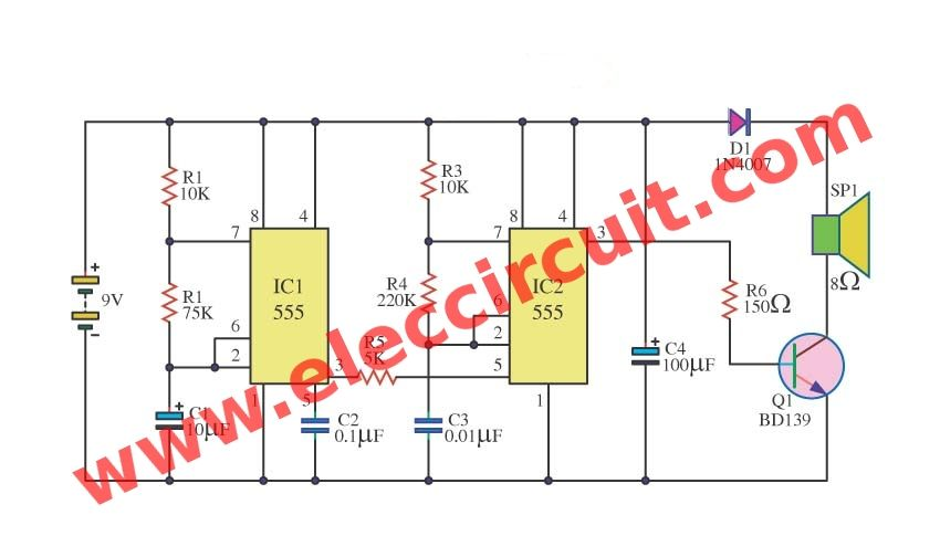 Make Police Siren Circuit Using 555 Timer Transistors And Op Rhpinterestcouk: Police Siren Wiring Diagram At Gmaili.net