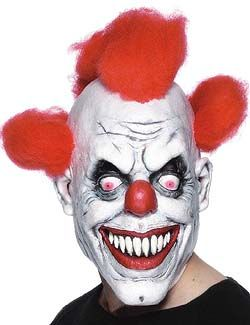 Fancy Dress Halloween Costume Adult Adult/'s Half Clown Face Mask With Hair