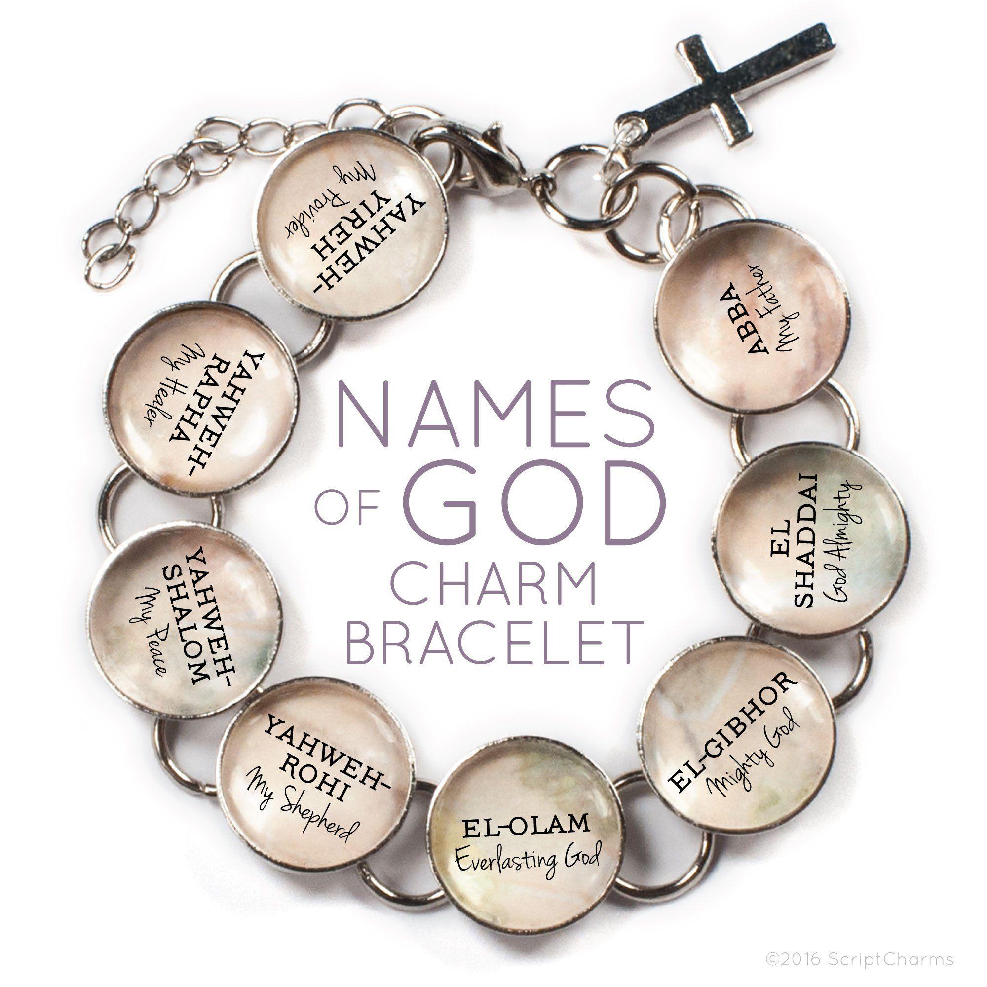 Photo of Names of GOD Glass Charm Bracelet – Neutral / 9 (Large) 7.5-8.5 / Heart