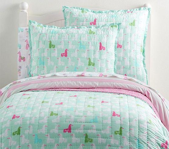 Wholecloth Llama Quilt Cute Bedding Aqua Bedding Bed