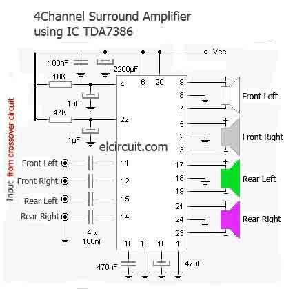 Surround Amplifier Tda7386 4 Channel Subwoofer Amplifier Amplifier Surround Sound Amplifier