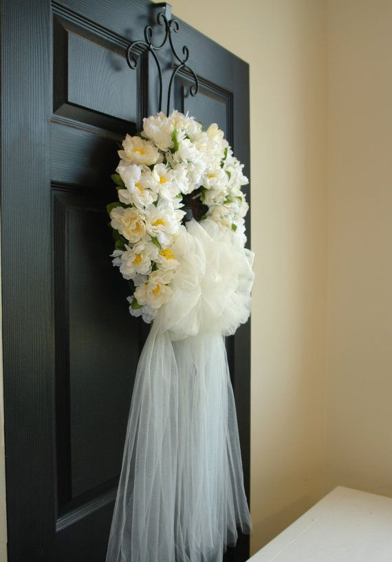 Exceptional Spring Wreath First Communion Wedding Wreaths White Tulle Door Wreath Veil  Outdoor Wreath Front Door Wreaths Bridal Shower Decor