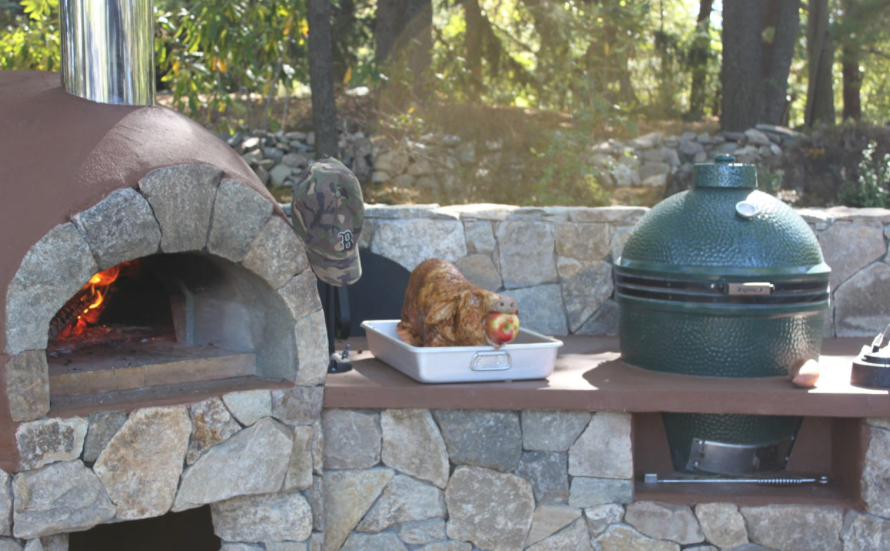 Outdoor Kitchen With A Built In Pizza Oven And Big Green Egg Talk About Great Wood Smoke Big Green Egg Outdoor Kitchen Outdoor Kitchen Outdoor Kitchen Design