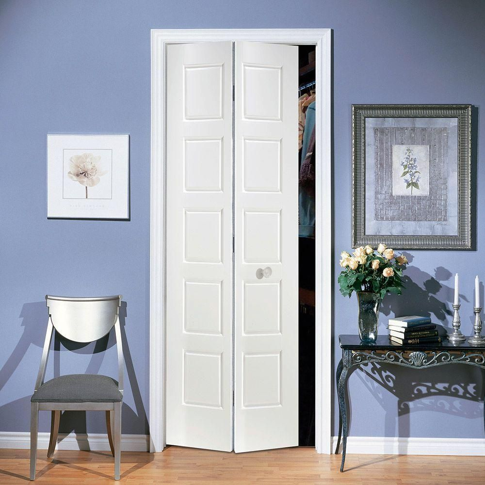 Masonite 24 in. x 80 in. Riverside 5-Panel Primed White Hollow-Core ...