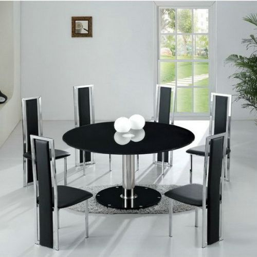 Modern Round Dining Table For 6 Black Chairs | Glass round ...