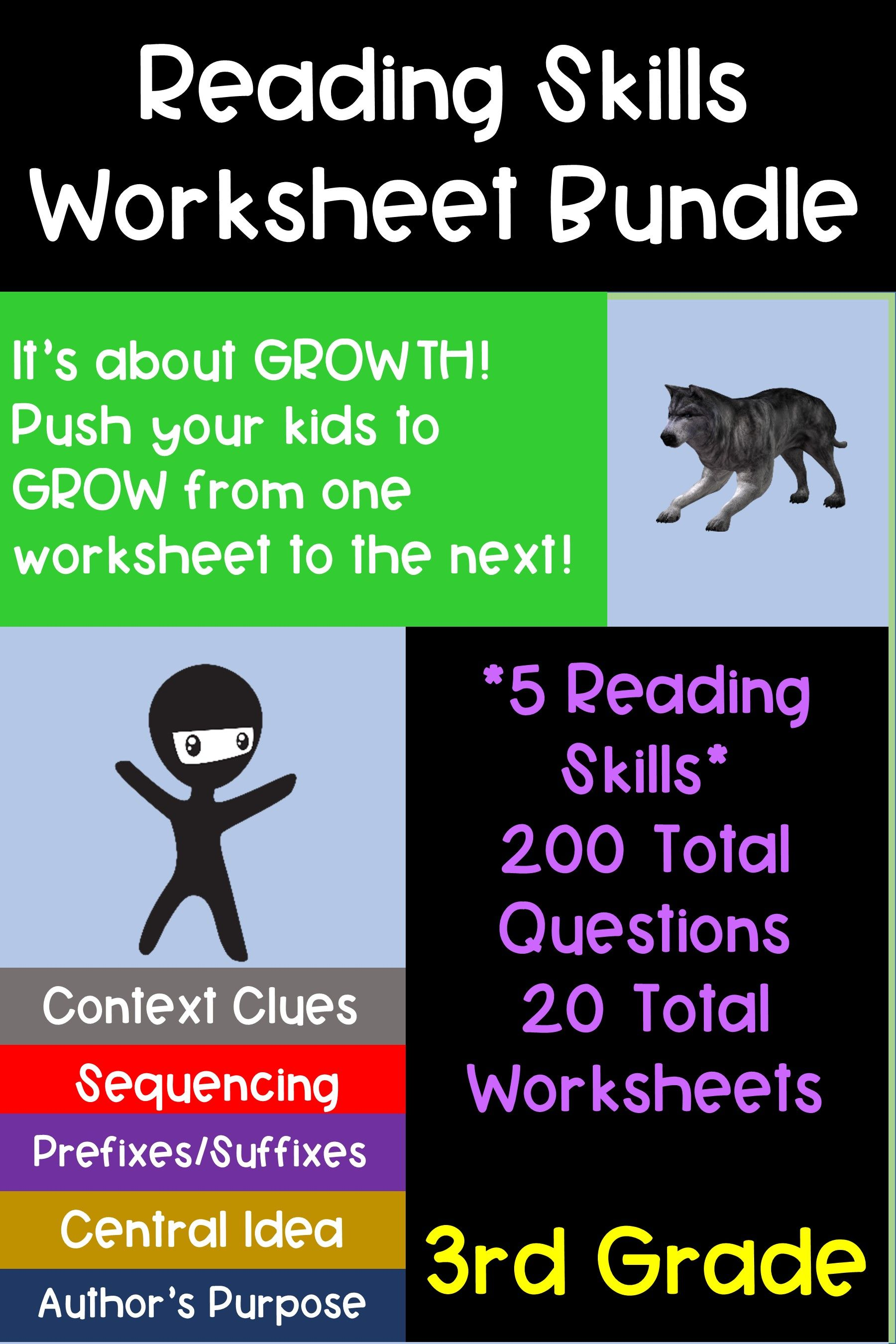3rd Grade Reading Skill Worksheet Bundle