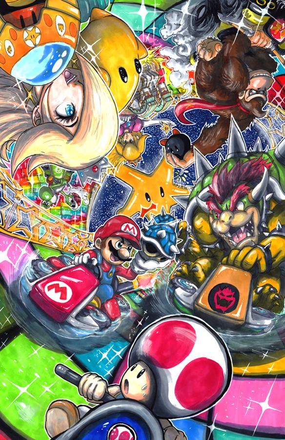 My First Super Smash Bros Fan Art Aka All The Little Guys Makin The Big Guys Look Dumb I Dunno How That Wo Mario Kart 8 Rainbow Road Mario Kart Mario Art