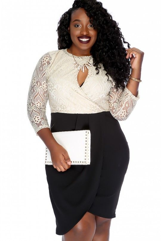 Sexy Beige Black Long Sleeve Knee Length Lace Overlay Plus Size