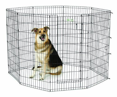 Midwest Homes For Pets Exercise Pen For Pets With Full Max Lock Door 48 Inch Black Dog Fence Dogs Indestructable Dog Bed