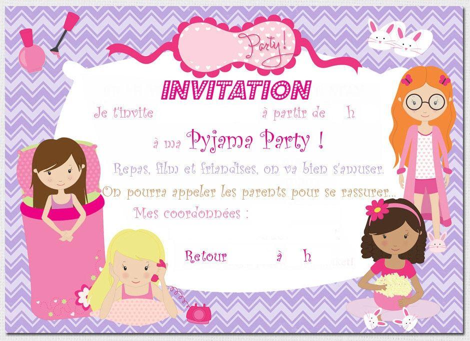 invitation pyjama party imprimer