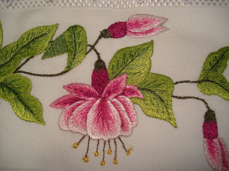 Fuchsia Flowers Lady S Eardrops Pink And Purple Etsy Fuchsia Flowers Hand Embroidery Flowers Embroidered Patches