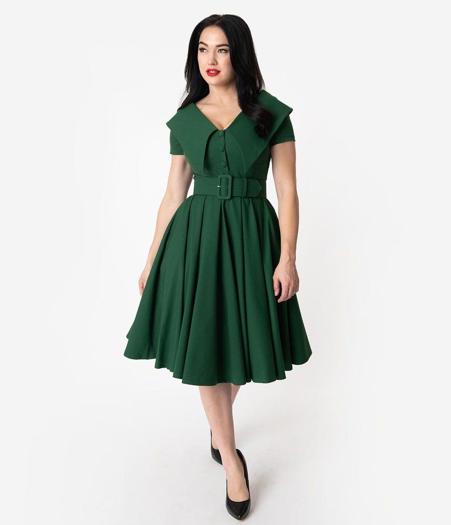 Vintage Diva 1950s Green Wide Collar Belted Joan Swing Dress Vestidos De Dia Vestidos Sencillos Moda [ 1023 x 879 Pixel ]