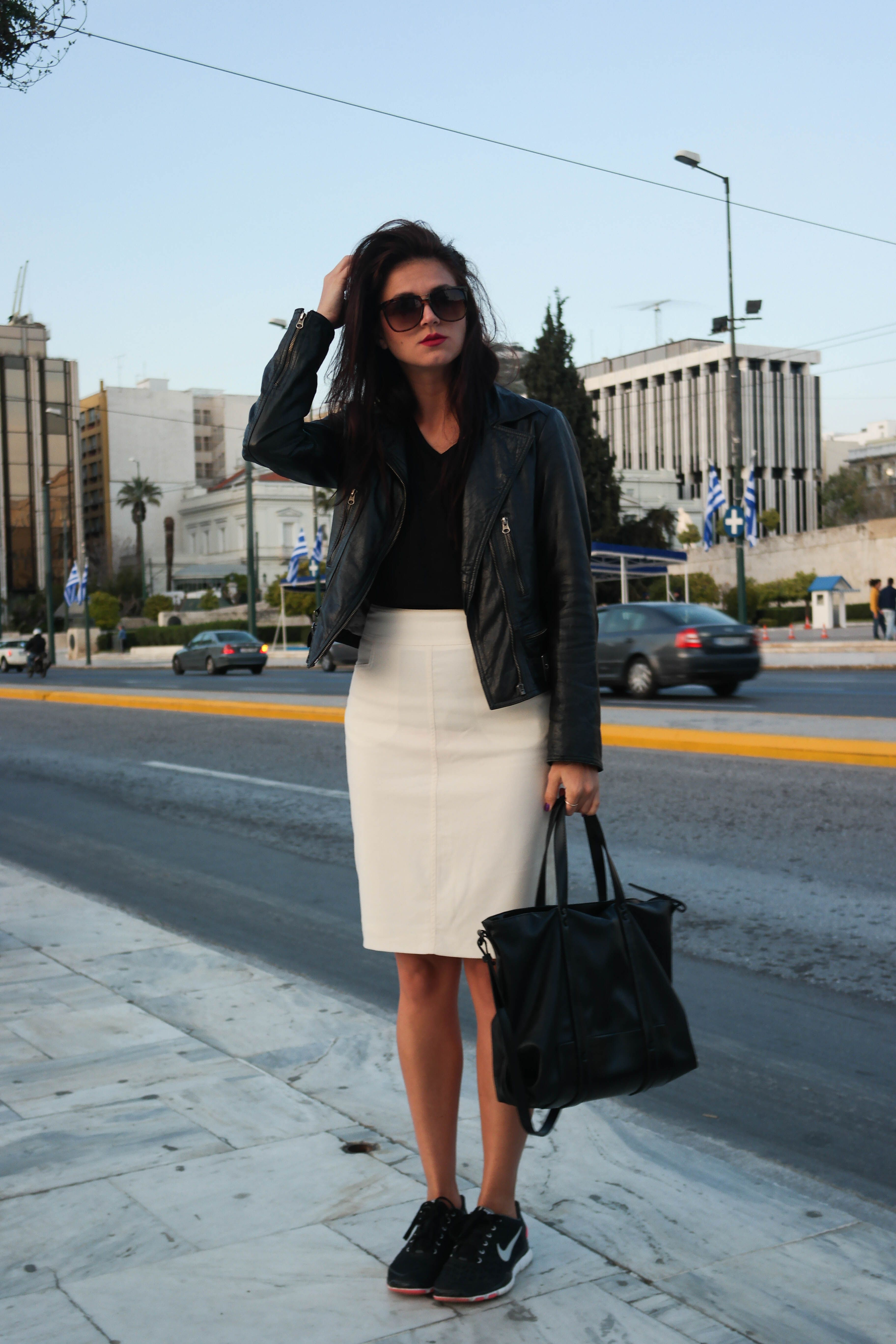43f11e527 street style, Athens, Greece, black and white, leather, black leather,  leather jacket, white pencil skirt, sneakers, sneakers outfit, sneakers and  skirt, ...