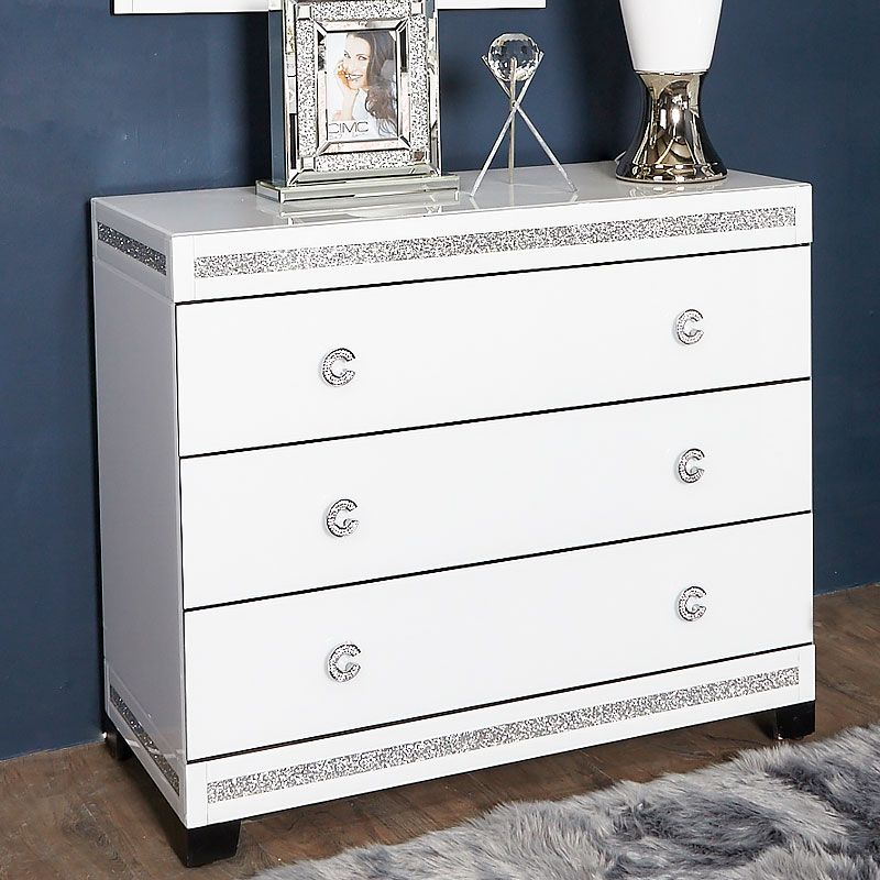 Crystalline White Glass Mirrored Large 3 Drawer Bedroom ...