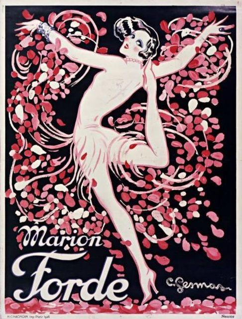 Marion Forde dancer art deco poster: Ode to Past