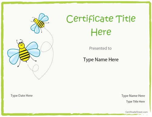 blank certificate blank certificate template for kids - Free Templates For Kids