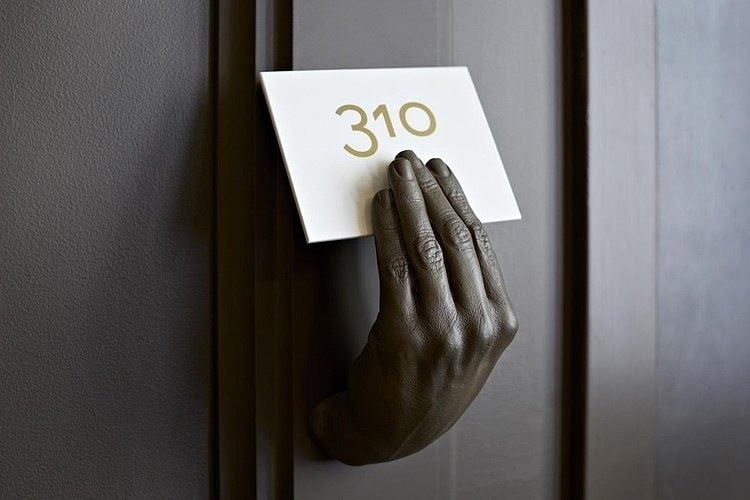Creative Numbdering Of Hotel Rooms With Number Holder In Dark Color For Hotel Interio...