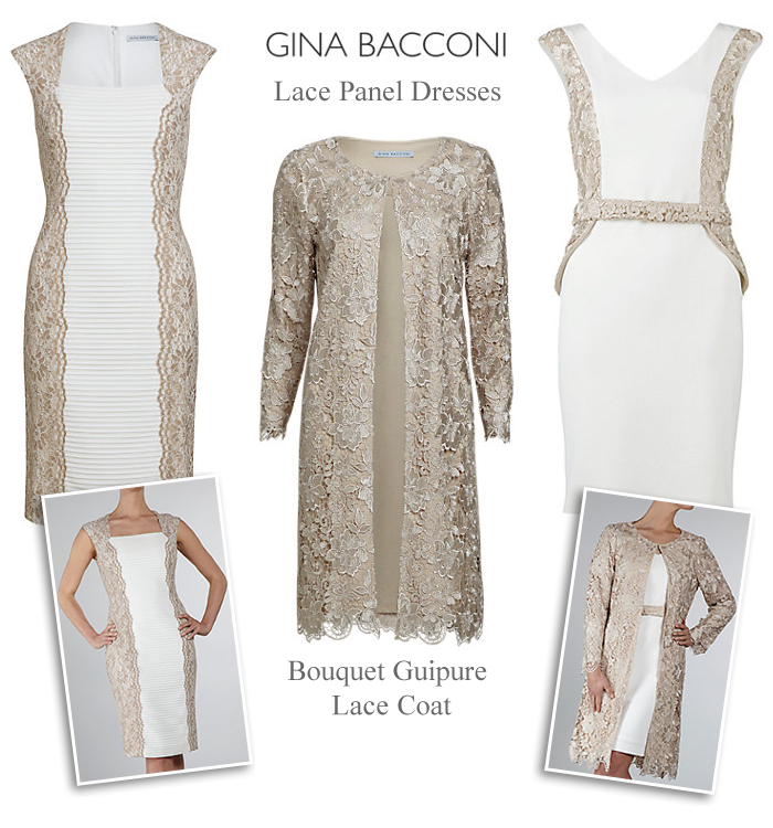 Gina Bacconi almond cream ivory champagne wedding outfits Mother of the  Bride lace dress and matching coat b34e40197