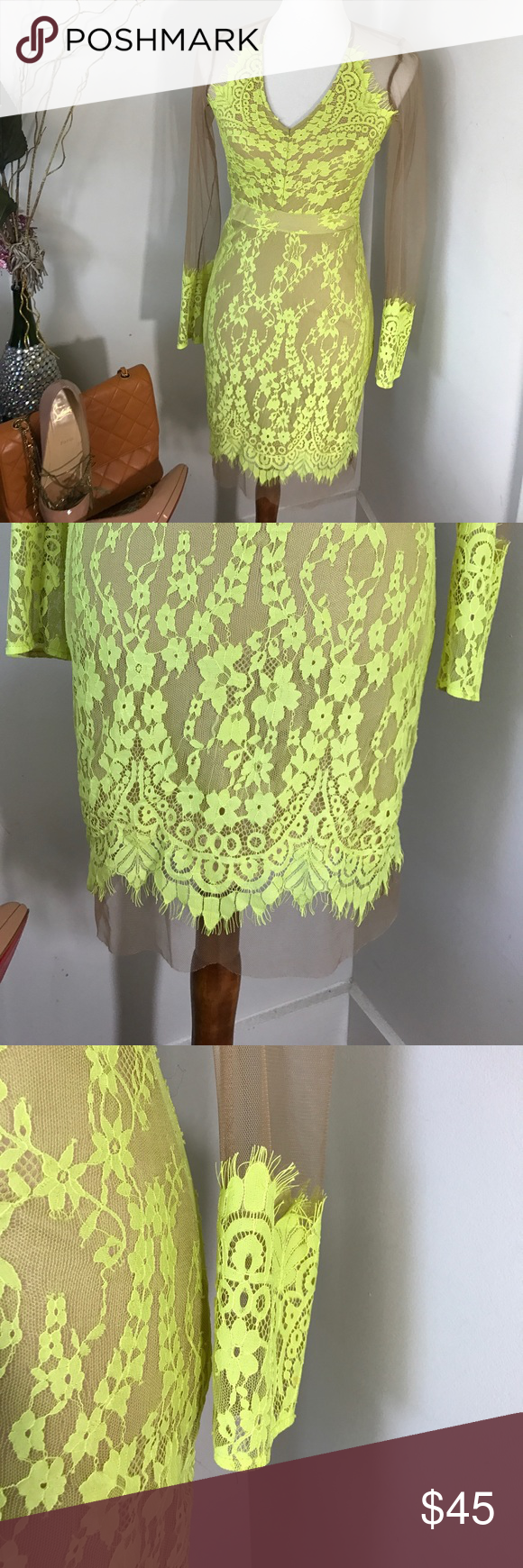Sexy neon green/yellow mesh see-through lace dress Very sexy never worn just without tags Dresses Midi