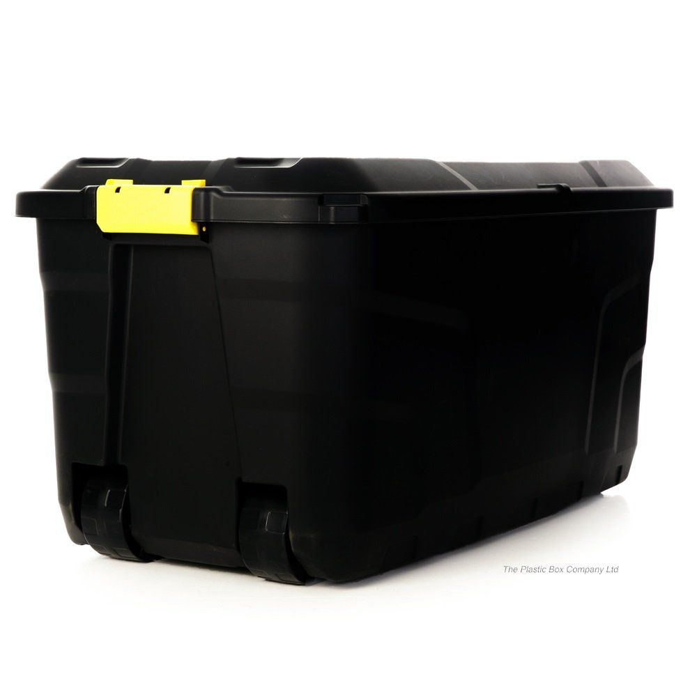 Buy 145lt Extra Large Massive Plastic Box With Clip Lid And Wheels