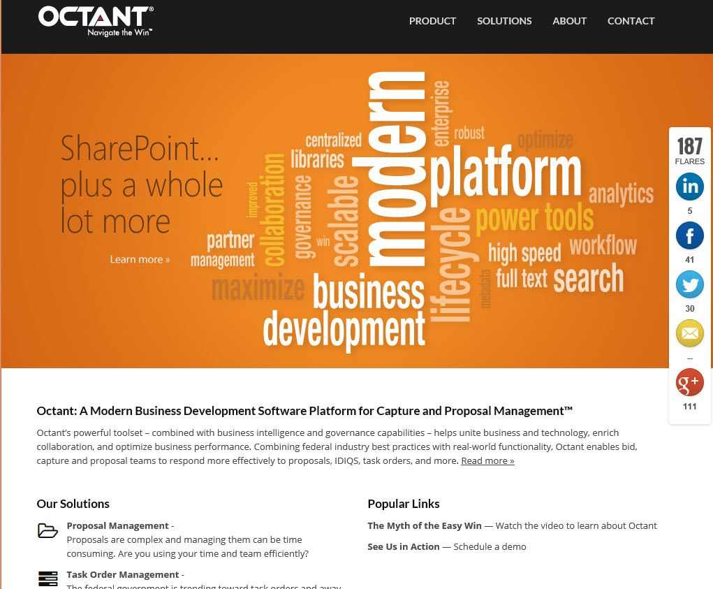 Octant's website describing they are a bid, capture and proposal RFP