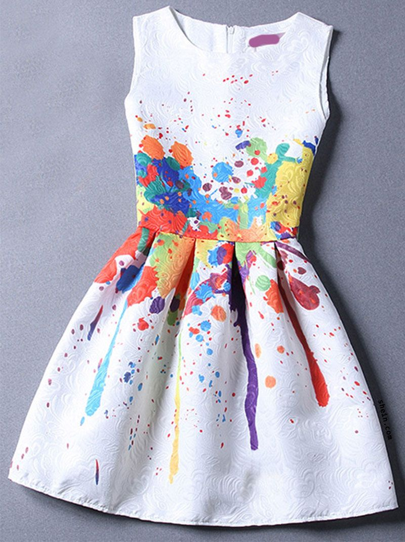 Colour sleeveless random print jacquard dress anoint the runway