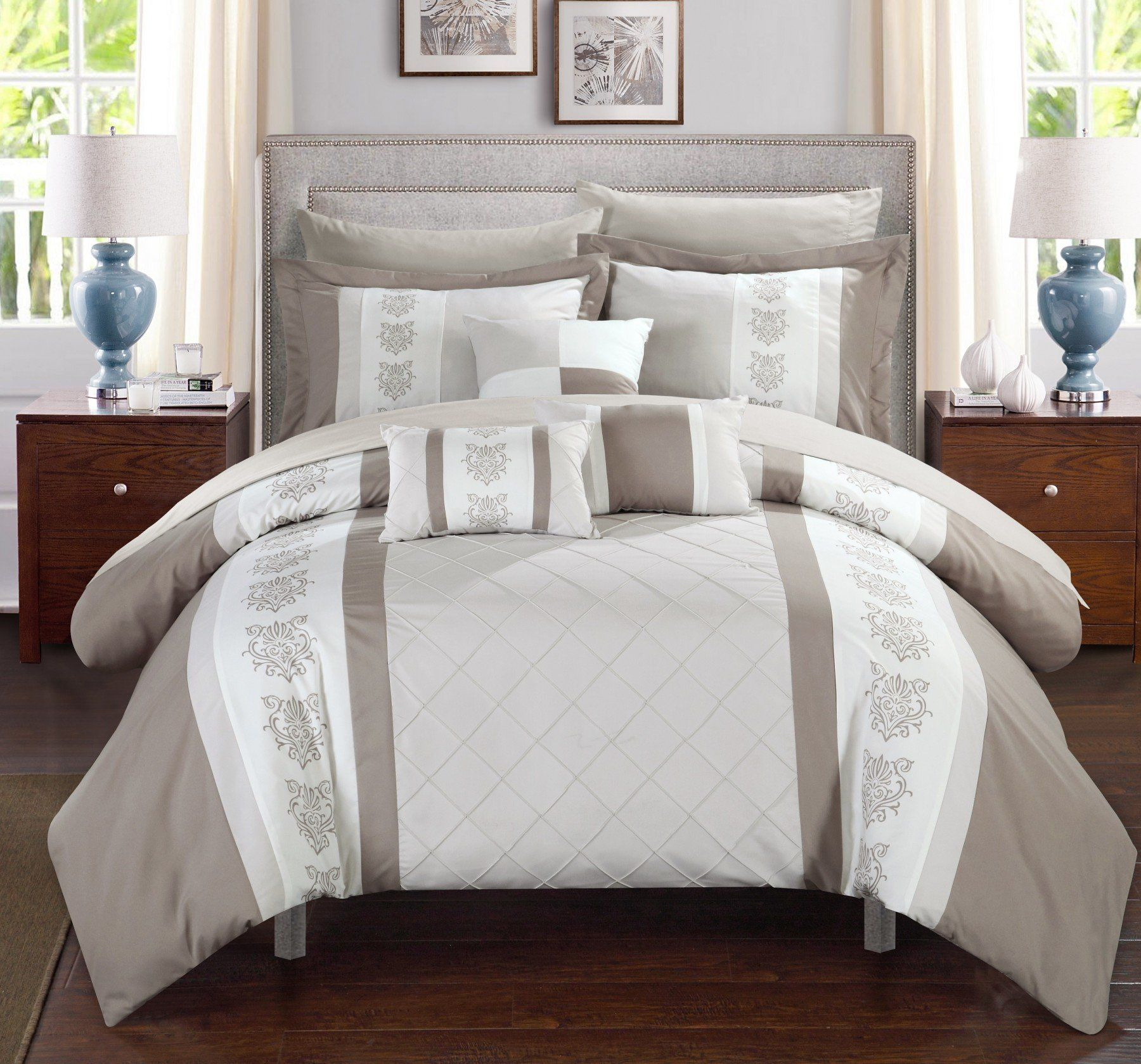Chic Home Clayton 10 Piece Comforter Set Color Block Pintuck Embroidered Design  Bed In A Bag