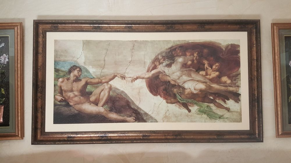 The Creation of Adam Painting 3ft x 5ft (Framed)
