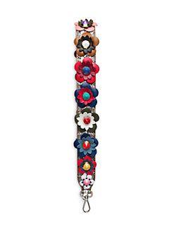 9bfab553a34d Fendi - Floral-Embellished Snakeskin   Leather Handbag Shoulder Strap